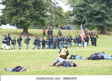 PORT GAMBLE, WA - JUNE 20 : Union infantry hold their line as casualties increase during a mock Civil War battle on June 20, 2009 in Port Gamble, WA.