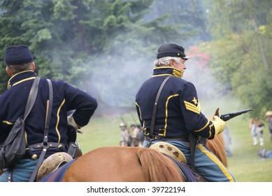 PORT GAMBLE, WA - JUNE 20 : Union cavalry observe the mock Civil War battle on June 20, 2009 in Port Gamble, WA.
