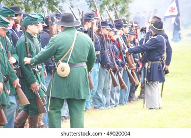 PORT GAMBLE, WA - JUNE 20 :Union infantry skirmishers hold their position during a mock Civil War battle on June 20, 2009 in Port Gamble WA