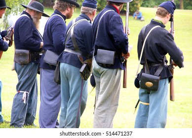 PORT GAMBLE, WASHINGTON - JUN 20, 2009  -   Union infantry skirmishers hold their position during a mock Civil War battle in Port Gamble WA