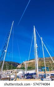 Port Ginesta harbor in Barcelona, Catalonia, Spain.
