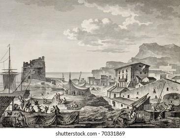 Port of Girgenti, nowadays Porto Empedocle, Sicily.  By Bertheaux and De Ghendt, published on Voyage Pittoresque de Naples et de Sicilie, by J. C. R. de Saint Non, Impr. de Clousier, Paris, 1786