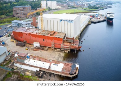 Port Glasgow, Inverclyde / Scotland - August 8th 2019: Ferguson Marine shipbuilding to be nationalised by Scottish UK government building Calmac ferry
