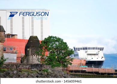 Port Glasgow, Inverclyde / Scotland - July 20th 2019: Ferguson Marine shipbuilding to be nationalised by Scottish UK government building Calmac ferry
