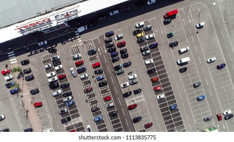 Port Glasgow, Scotland, UK; June 12th 2018: Aerial image over the Tesco Extra store and car park at the retail park.