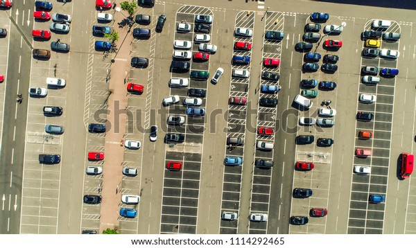 Port Glasgow, Scotland, UK; June 12th 2018: Aerial image over the  car park at the retail park.