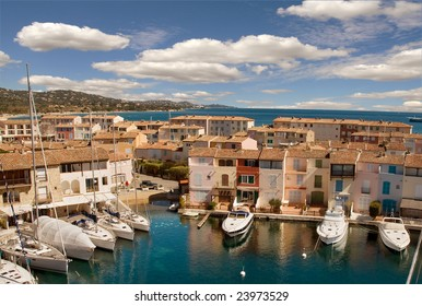 Port Grimaud with Bay of Saint Tropez background