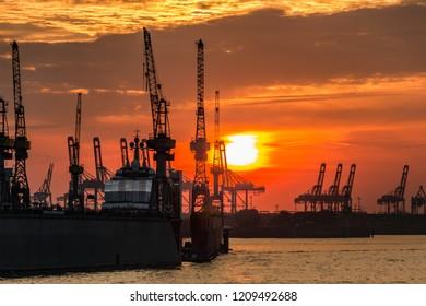 Port of Hamburg in the evening