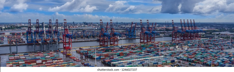 Port of Hamburg panoramic aerial view container