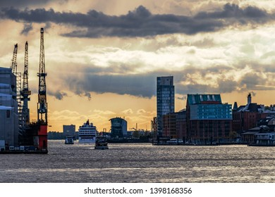port of hamburg, river elbe with boats