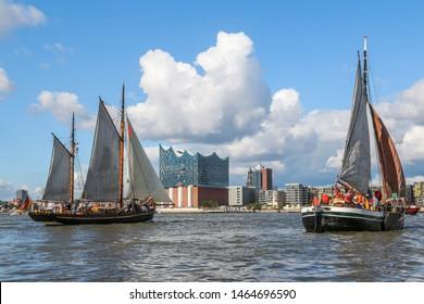 Port of Hamburg with sailing ships and HafenCity