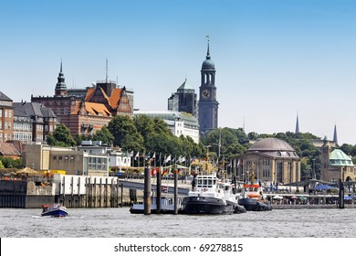 Port of Hamburg with a view of downtown
