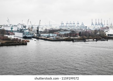 Port of Hamburg in Winter