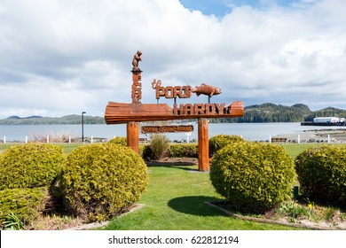 Port Hardy, BC, Canada - Circa 2017: Welcome  to Port Hardy Sign