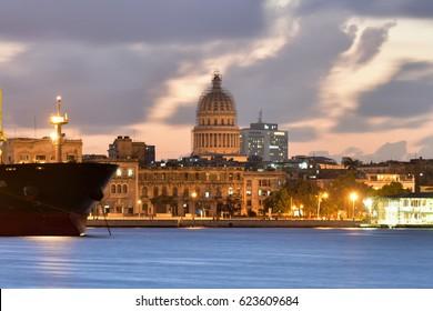 Port of Havana view unto Old Havana from the neighborhood of Regla in Cuba.