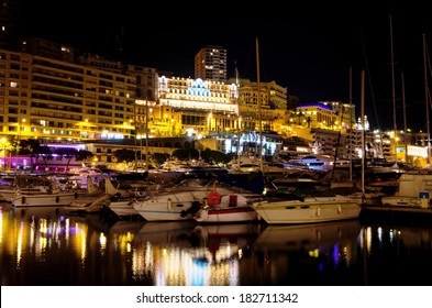 Port Hercule and the city at night. Monte Carlo, Monaco, France