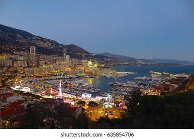 Port Hercule in Monaco illuminated at night