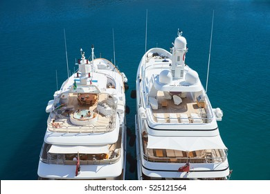 Port Hercules, People sunbathe on yachts, luxuriate in a jacuzzi onboard the yacht, sunny day, megayachts