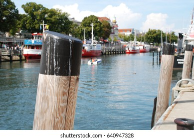 Port with historical ships of Warnemunde (Rostock), Germany