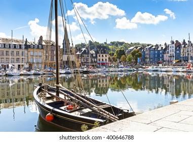 Port of Honfleur, Normandie; old fishing boat
