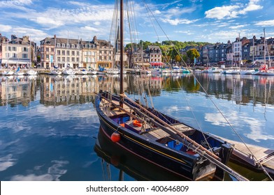 Port of Honfleur, Normandie; old fishing boat