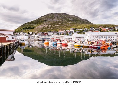 Port of Honningsvag in Finnmark Norway: base for the cruise ships and tourist as starting point for their trip to the North Cape the .most northerly point of Europe.