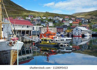 The port of Honningsvag, Honningsvag, Norway. 19th June 2018. Fore editorial use only