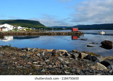 Port Hope Simpson and Harbour with Reflections in Early Morning Light, Labrador, Canada