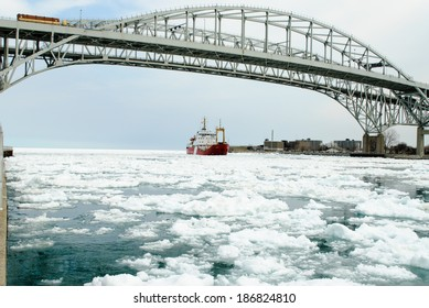 PORT HURON, MI - USA - MARCH 21, 2010 - The CCGS GRIFFON on March 21, 2010 at Port Huron, MI on the St Clair River. The Canadian ice breaker GRIFFON is passing under the Blue Water Bridge.