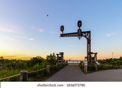 Port Huron, Michigan, USA - August 31, 2020: Historic display on the Blue Water River Walk. The mile long trail parralells the St Clair River and is in the downtown waterfront district of Port Huron.