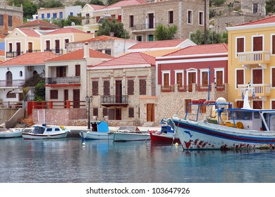 the port of the island of Halki, Greece