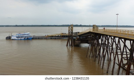 Port of Itacoatiara on the Amazonas shore. Amazon, Brazil