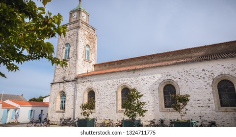 Port Joinville, France - September 16, 2018: Architectural detail of the Saint-Amand church on the island of Yeu on a summer day