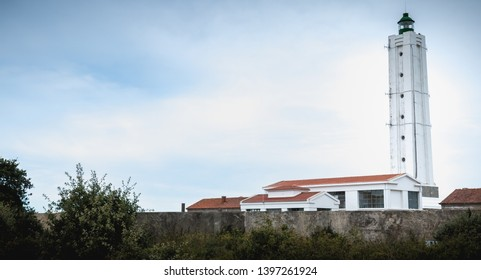 Port Joinville, France - September 16, 2018: Architecture detail of the Corbeaux lighthouse on the island of Yeu on a fall day