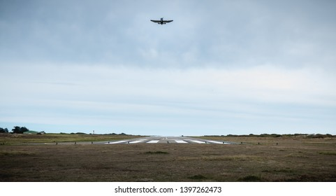 Port Joinville, France - September 16, 2018: Small passenger plane taking off from an airfield on Yeu Island near France on a fall day