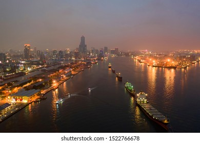 Port of kaohsiung ,Kaohsiung, Taiwan October 05, 2019:Port of kaohsiung is a seaport in Kaohsiung City, Taiwan. It is one of the four international commercial ports of the R.O.C.