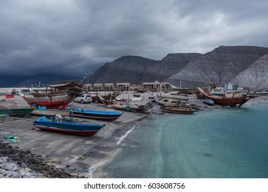 Port in Khasab city in cloudy storm, Musandam peninsula, Oman, Arabia