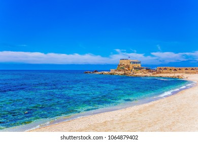 The port of King Herod in ancient Caesarea and the restored embankment. The Archaeological Park of the Roman Empire. Concept of active, historical and archaeological tourism