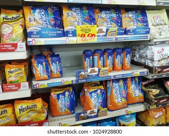 Port Klang , Malaysia - 27 January 2018 : View of various packages of Horlicks on the shelves of local supermarket. Horlicks is a malted milk hot drink.Mobile photoghpy.