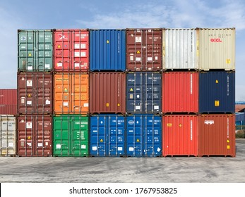 PORT KLANG MALAYSIA - JULY 2, 2020: View of shipping sea containers stacked at container depot at terminal and port.