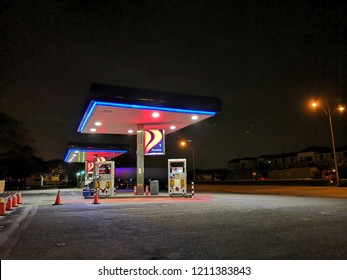 Port Klang, Malaysia - October 2018: Petron petrol station at Port Klang, Selangor at night.Petron acquired in 2011 Esso Malaysia's refinery & fuel retail network in Malaysia