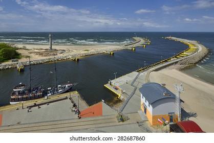 Port of Kolobrzeg, Poland, in the foreground radar tower