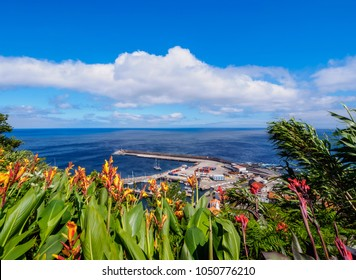 Port in Lajes das Flores, elevated view, Flores Island, Azores, Portugal
