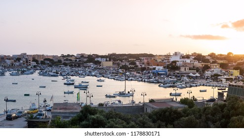 Port of Lampedusa at sunset