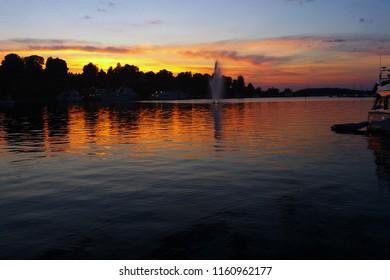 Port of Lappeenranta, Finland at sunset.