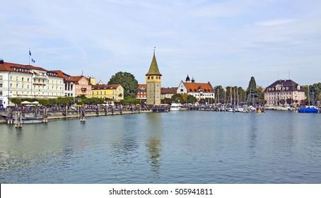 port Lindau with Mangturm tower, Germany