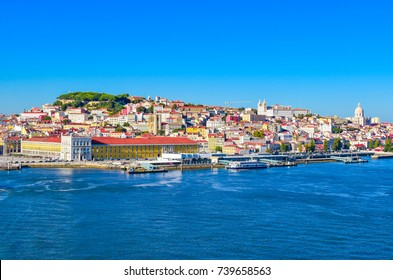 Port of Lisbon. Skyline of Alfama. Colorful image.