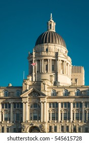 Port of Liverpool building at Pier Head, Liverpool. Architectural detail.