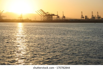 Port of Long Beach Sunset. The Port of Long Beach in southern California during sunset.