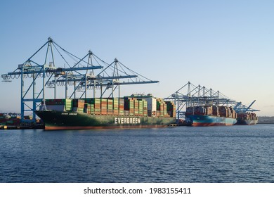 Port of Los Angeles, California, USA - May 30, 2021: this image shows three container ships during loading.